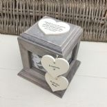 Shabby Chic In Memory Of BROTHER Or ANY NAME Rustic Wood Personalised Photo CUBE - 253967152216